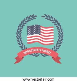 blue light background of colorful flag united states of america with crown of olive branches and label tape