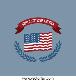 blue light background of colorful flag united states of america with half crown of olive branches and label tape