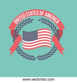blue background of light color flag united states of america with crown of olive branches and label tape intertwined