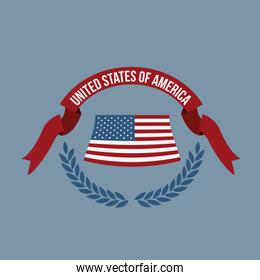blue background of colorful flag united states of america with half crown of olive leaves and label tape