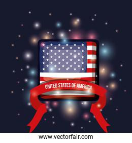 color dark blue background with brightness of square shape flag united states of america with label tape
