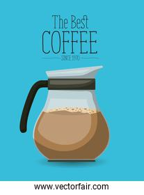 color poster with glass jar with coffee of the best coffee since 1970