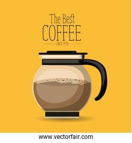 color poster with rounded glass jar with coffee of the best coffee since 1970