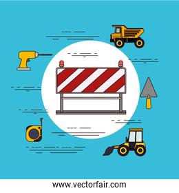 color background circular frame with traffic barrier in red and white stripes with tools for construction