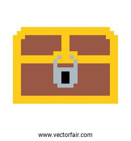 colorful pixelated treasure chest with padlock