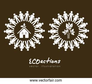 illustration of ecological icons around people vector illustrati