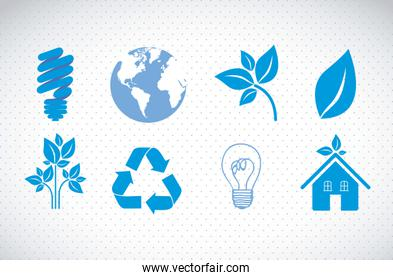 illustration of ecological blue icons on dottes background vecto