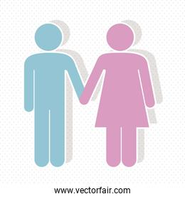 illustration of a couple in 3d vector illustration