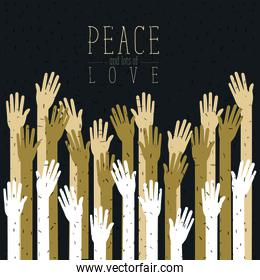 color poster of peace and lots of love with silhouette hands up
