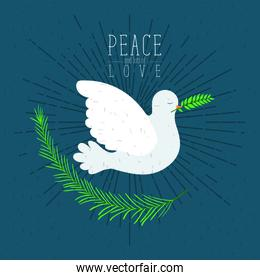 color poster with sparks and side view pigeon peace symbol with linear brightness