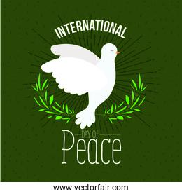 green poster with sparks and side view pigeon peace symbol with linear brightness and crown of leaves
