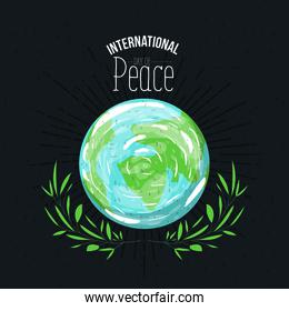 brown poster with sparks and earth world map symbol with linear brightness and crown of leaves