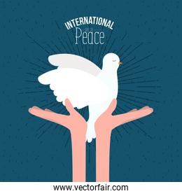 color poster with sparks and hands holding a pigeon with olive branch in peak and text international day of peace with linear brightness