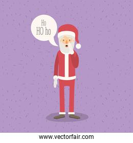 color poster with sparks with full body caricature of santa claus with with dialogue box text ho ho ho