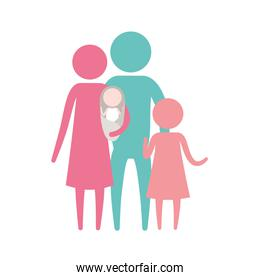 color silhouette set pictogram parents with a baby and little girl