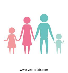 color silhouette set pictogram parents with a girl and little boy holding hands