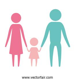 color silhouette set pictogram parents with a little girl holding hands