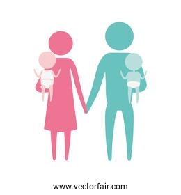 color silhouette set pictogram parents with a baby boy and girl carrying