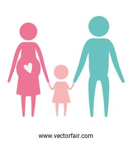 color silhouette set pictogram parents with mother pregnancy and little girl holding hands