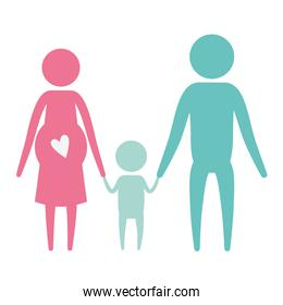 color silhouette set pictogram parents with mother pregnancy and little boy holding hands