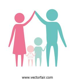 color silhouette set pictogram parents holding hands up and baby girl and boy in the middle of them