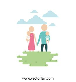 color sky landscape and grass with silhouette pictogram woman and man carrying a babies and holding hands