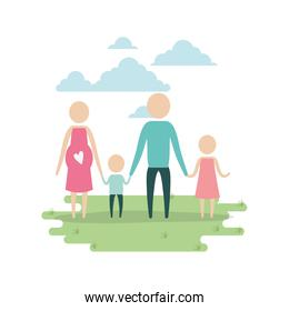 color sky landscape and grass with silhouette pictogram woman pregnancy and man holding hands of children