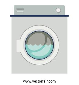 colorful silhouette of washing machine with water medium level