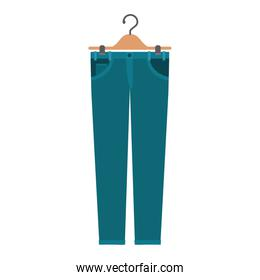 colorful silhouette of female pants in clothes hanger