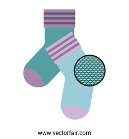 colorful silhouette of pair of socks and circle of macro textile pattern