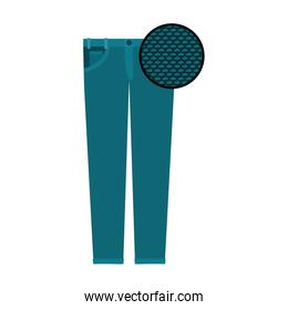 colorful silhouette of female pants and circle of macro textile pattern