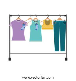 colorful silhouette of female clothes rack with t-shirts and pants on hangers