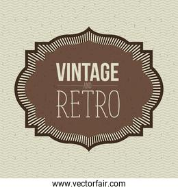 color waves lines background with brown ornamental border vintage and retro text
