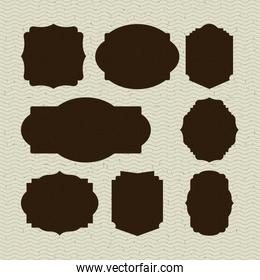 color waves lines background with brown set collection ornament vintage