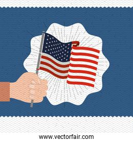 colorful poster with zigzag lines of happy labor day with hand holding american flag