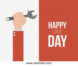 colorful banner with zigzag lines of happy labor day with hand holding spanner