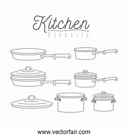 white background with silhouette set of kitchen pots and pans with lids kitchen utensils