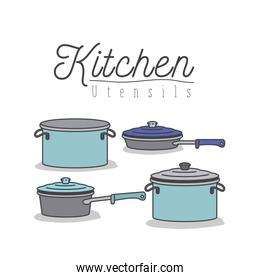 white background with colorful set of kitchen pots and pans with lids kitchen utensils