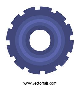 colorful silhouette of pinion with big teeths in closeup