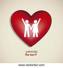 Illustration of a couple holding hands on a heart working for ma