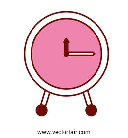 pink and scarlet red sections silhouette of clock icon