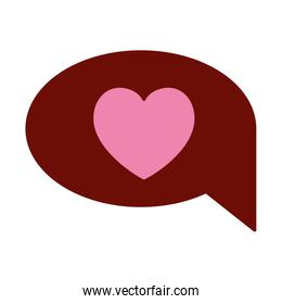 pink and scarlet red sections silhouette of speech bubble with heart