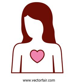 pink and scarlet red sections silhouette of faceless female half body and and heart in chest
