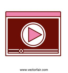 pink and scarlet red sections silhouette of window with start playback icon