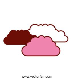 pink and scarlet red sections silhouette with set of clouds