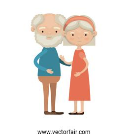 colorful full body elderly couple embraced grandfather with beard and curly hair with grandmother bow lace short hairstyle in dress