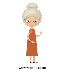 colorful full body elderly woman in dress with curly collected hairstyle and glasses