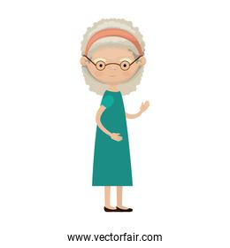 colorful full body elderly woman in dress with bow lace and curly hairstyle with glasses
