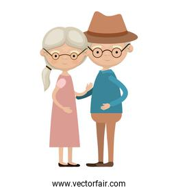 colorful full body elderly couple embraced grandmother ponytail hairstyle in dress and grandfather with hat and glasses