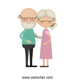 colorful full body elderly couple embraced bald grandfather with beard and glasses and grandmother collected side hairstyle in dress